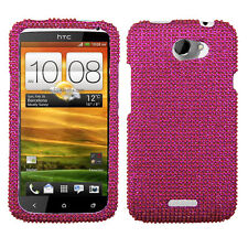 For AT&T HTC ONE X Cyrstal Diamond BLING Hard Case Snap On Phone Cover Hot Pink