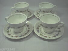 Set of 4 Cups & Saucers WOODLAND J & G Meakin Off White Great Condition 109264