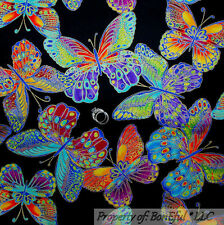 BonEful Fabric FQ Cotton VTG Black Rainbow Butterfly Gold Metallic Breast Cancer