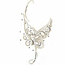 Rhinestone Transfer Hot fix Motif Fashion Design Gold Butterfly Tattoos deco
