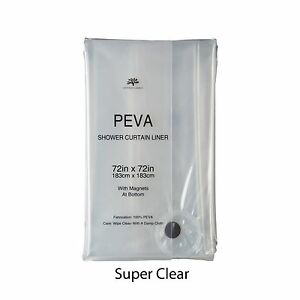 Soft Non-Toxic PEVA Shower Curtain Liner w/ magnets: Eco-Friendly, Mildew Resist