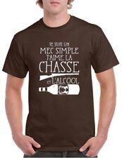 Tee Shirt Humour Chasse Homme Je suis un mec simple,j'aime la chasse et L'alcool