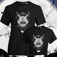 Women Gothic Punk Bat Print Short Sleeve T-Shirt Casual Halloween Tee Tops US