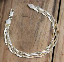 "Vintage Bracelet Sterling Silver & Gold Wash Italian Plait Chain Jewellery 7"""