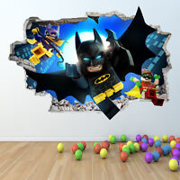 LEGO BATMAN WALL STICKER 3D LOOK - BOYS GIRLS BEDROOM WALL ART DECAL Z418