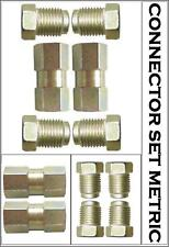 Brake Pipe Connectors 10mm x 1mm 2 Way Inline Female and Male Nuts For 3/16 Pipe