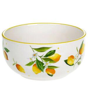 Porcelain Bowl with Lemons Pattern. Piala for Cereal,Soup,Ice Cream, 20 fl oz