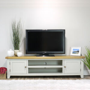 Arklow Painted Oak Extra Large TV Stand / 180cm Grey Solid TV DVD Cabinet Storag