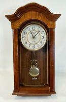"Vintage 22"" Strausbourg Manor Wood AA Battery Quartz Pendulum Wall Clock WORKS"