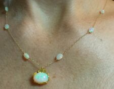 Ethiopian Fire Opal cabochon and nugget 6ctw necklace pendant solid 14k gold