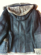Ladies S Sheepskin Shearling Fur Leather Jacket ~real with detachable hood
