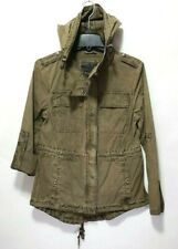 Levi's Green Drawstring Military Jacket Light Weight Parka w/ Roll Up Sleeve S