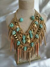 Fashion Jewelry Turquoise Howlite Skull Statement Necklace - punk-holloween