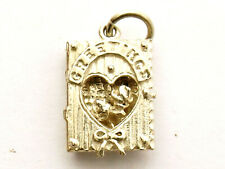 Greetings Card vintage sterling silver charm opens to reveal a flower