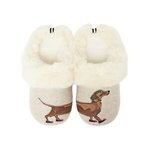 Joules Womens Slippet Luxe Sausage Dog Slippers (Grey)