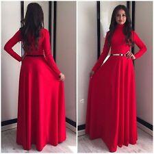 Kaftan Abaya Islamic Muslim Burqa Women Long Sleeve Turtleneck Maxi Dress S-XL