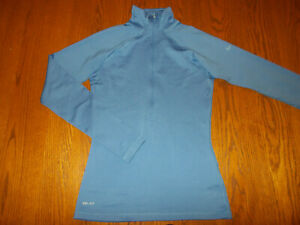 NIKE PRO 1/2 ZIP LONG SLEEVE BLUE ATHLETIC TOP WOMENS SMALL EXCELLENT CONDITION