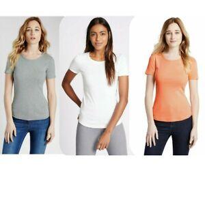 EX M&S WOMENS LADIES SHORT SLEEVE 100% COTTON TOP CREW NECK T-SHIRT 8 to 24