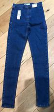 Brand New Topshop Blue Jonie Super High Waisted Skinny Jeans 12 Tall