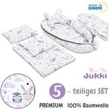 ?NEU 5tlg Baby Nestchen Kokon Babynest Reisebett + Decke Kissen SET Grau Tiere
