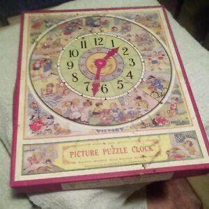 Vintage Victory Picture Puzzle Clock G. J. Hayter England #76  rare wood pcs