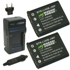 Wasabi Power Battery (2-Pack) and Charger for Fujifilm NP-45, NP-45A, NP-45B,