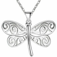 Women 925 Sterling Silver Cute Dragonfly Pendant Necklace Jewelry Fashion Gift