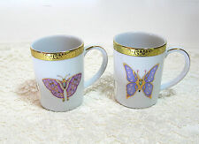 Royal Gallery Gold Buffet Butterfly Mugs, Set Of Two, Purple Butterflies