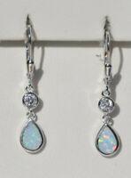 Echt 925 Sterling Silber Ohrringe weiß synth. Opal Zirkonia Geschenk Nr 55