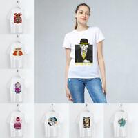 Summer Funny Cartoon Animal Print T-shirts White Basic Tees for Women Girls