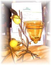 Windlicht Votivkerzentalter Mediteran Zitrone gelb Metall Glas 23 cm Sommer