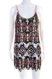 Parker Womens Sequin Sleeveless Dress White Brown Pink Black Size Medium