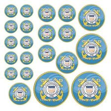 21 Premium Domed Round 3M Decal Sticker Set - USCG COAST GUARD - 053