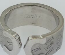 CARTIER Limited Edition Anniversary Double C Motif 18K W/Gold Monogram Band Ring