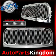 15-17 Ford F150 Raptor Style Chrome Package Mesh Grille+Shell+White 3x LED light