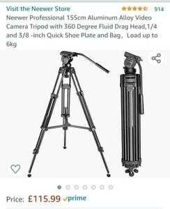 Neewer Professional 155cm Aluminum Alloy Video Camera Tripod with 360 Degree and