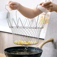 Chef Basket Collapsible Colander Mesh Basket Kitchen Accessories Foldable Steam