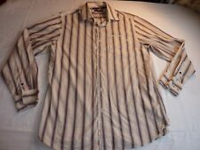 SAINT GEORGE BY DUFFER SIZE M/42 BEIGE/BROWN/PINK STRIPED COTTON/POLYESTER SHIRT