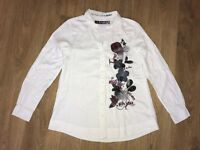 Desigual womens Style 18C2217 white floral pattern shirt blouse size S