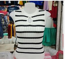 LADIES STRIPE SLEEVELESS KNITTED TOP EO   - WHITE