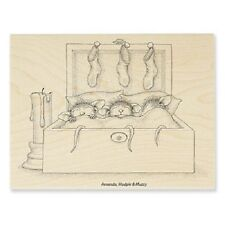 HOUSE MOUSE RUBBER STAMPS NESTLED IN BED CHRISTMAS STAMP