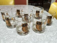 Vintage Mid Century Set of 8 Couroc Metallic Gold Owl Tumbler Rocks Glasses