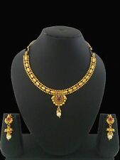 Indian Fashion Jewelry Antique Necklace Set Bollywood Ethnic Gold Plated Set
