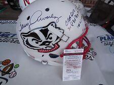 Barry Alvarez signed Wisconsin Badgers full size Bucky STATS helmet JSA COA