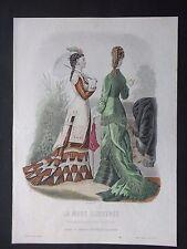 GRAVURE MODE 19e - MODE ILLUSTREE - TOILETTES MME FLADRY 1877 - GRAND FORMAT
