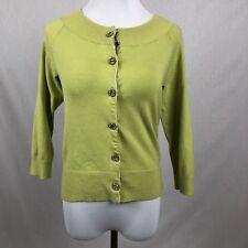 Preswick & Moore Green silk blend cardigan sweater size Petite Small Bling