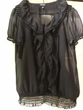 Women's Blouse - Black, Size S, Short Sleeved, Light Weight, Sheer With Insert