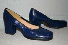 6 Navy Blue Patent Vtg 1960s 1970s Platform HIGH Heel SHOE Slip On PUMPS DISCO