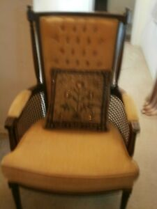 VINTAGE MID-CENTURY LOUNGE CHAIR CANED SIDES UNDER ARMRESTS EITHER SIDEHIGH BACK