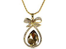 Women Gold Crystal Rhinestone Teardrop Bow Golden Chain Pendant Necklace Pendant